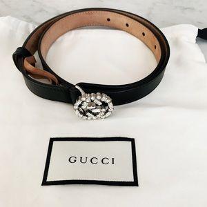 Authentic Gucci Black Crystal Gg Metallic Belt